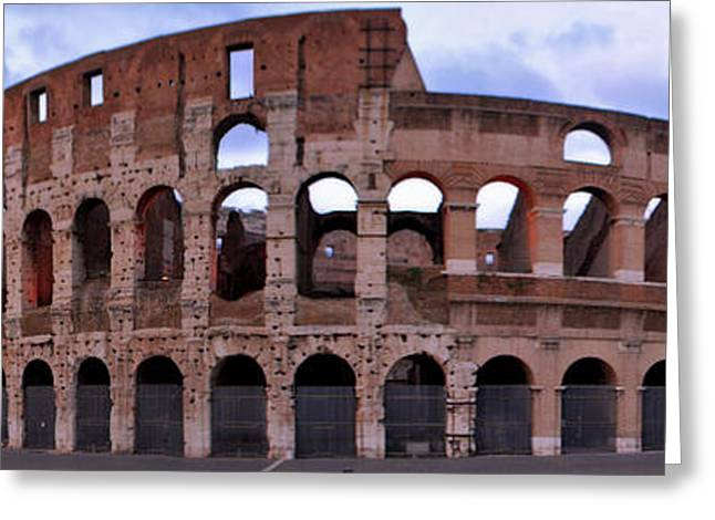 Italian Sunset Greeting Cards - Panoramic View of The Roman Colosseum Greeting Card by Jeff Rose