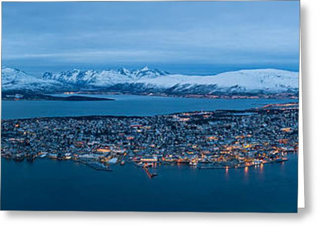 Snowy Night Night Greeting Cards - Panoramic view of Tromso in Norway  Greeting Card by Ulrich Schade