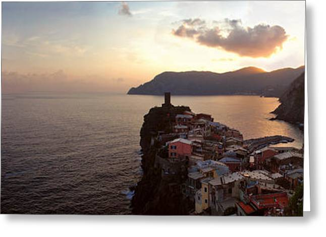 Italian Sunset Greeting Cards - Panoramic View of Vernazza Greeting Card by Jeff Rose
