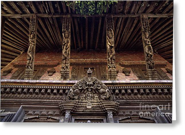 Strut Photographs Greeting Cards - Panote Temple Struts - Nepal Greeting Card by Craig Lovell