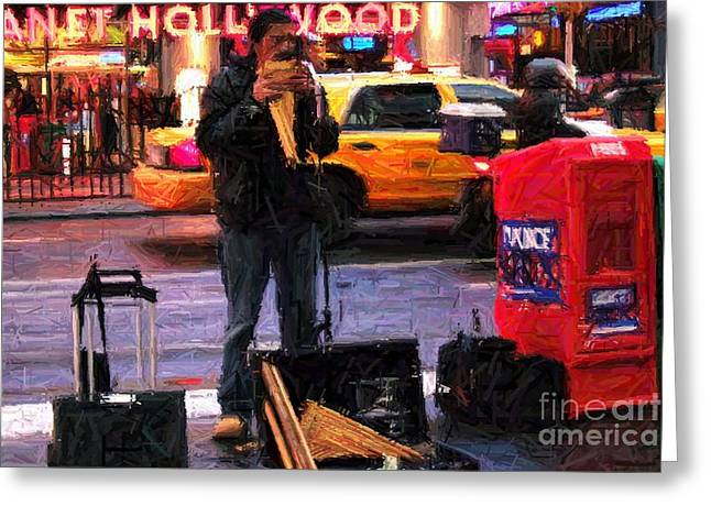 Pan Pipes Greeting Cards - PanPipes on Times Square Greeting Card by RL Rucker