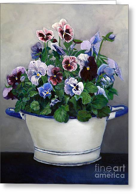 Flora Framed Prints Greeting Cards - Pansies Greeting Card by Enzie Shahmiri