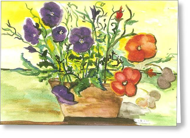 Pansies In A Clay Pot Greeting Card by Thelma Harcum