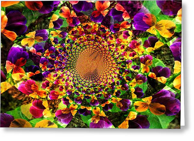 Kaleidoscope Effect Greeting Cards - Pansy Kaleidoscope  Greeting Card by Cathie Tyler