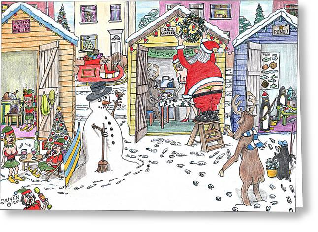 Rudolph Drawings Greeting Cards - Panta Clauss Beach Hut Greeting Card by Steve Royce Griffin