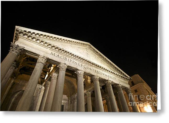 Pantheon Greeting Cards - Pantheon at night. Rome Greeting Card by Bernard Jaubert