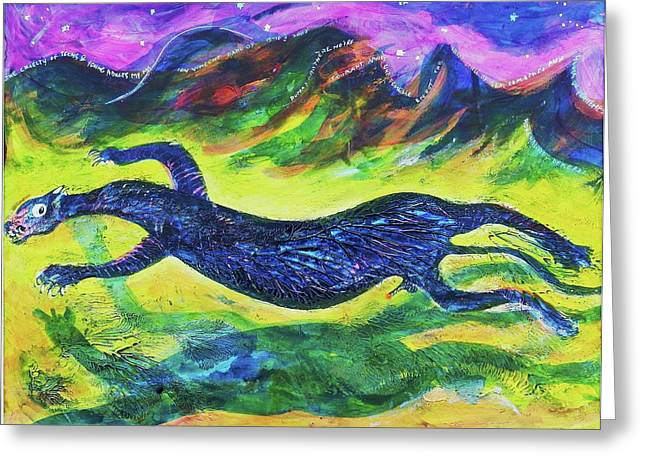 Matting Greeting Cards - Panther in the Springtime Greeting Card by Ion vincent DAnu