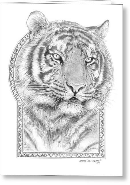 Panthera Tigris Greeting Cards - Panthera Tigris - Tiger the Circle of Life Greeting Card by Steven Paul Carlson
