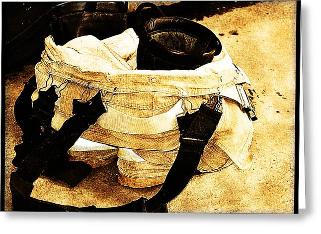 Fireman Boots Greeting Cards - Pants of a Protector Greeting Card by Tricia Flinn