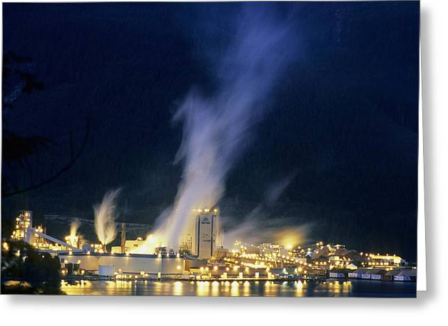 Paper Mill Greeting Cards - Paper Mill At Night, Canada Greeting Card by Alan Sirulnikoff