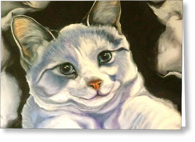 Siamese Cat Print Greeting Cards - Paper Tiger Detail Greeting Card by Susan A Becker