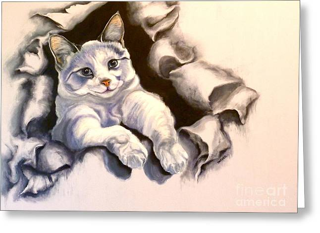 Siamese Cat Greeting Card Greeting Cards - Paper Tiger Greeting Card by Susan A Becker