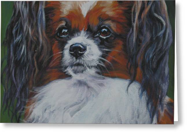 Papillon Dog Greeting Cards - Papillon head study Greeting Card by Lee Ann Shepard