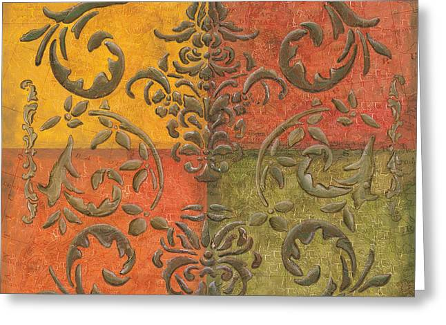 Paprika Scroll Greeting Card by Debbie DeWitt