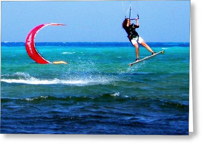 Para Surfing Greeting Cards - Para surfing in Cozumel Mexico Greeting Card by Danielle  Parent