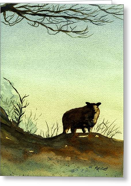 Sheep Paintings Greeting Cards - Parable of the Lost Sheep Greeting Card by Marsha Elliott