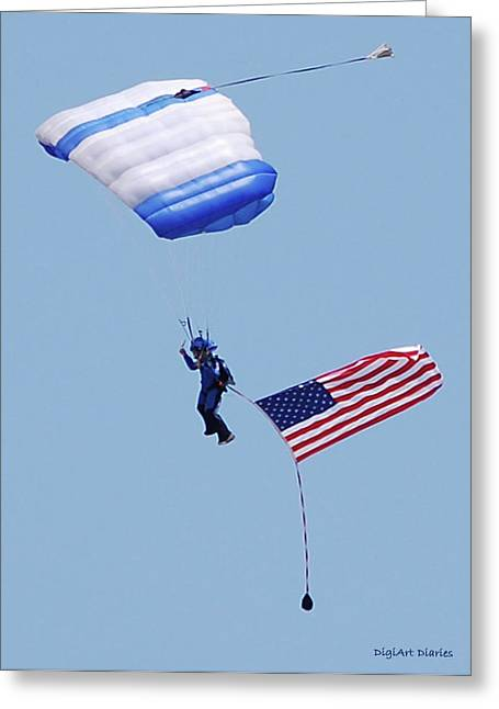 Smyrna Greeting Cards - Parachutist With American Flag Greeting Card by DigiArt Diaries by Vicky B Fuller