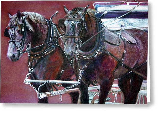 Parade Horses  Greeting Card by Leonor Thornton