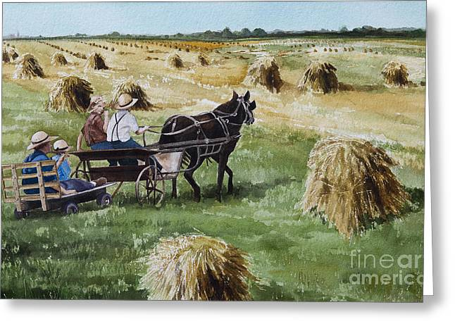 Horse And Buggy Greeting Cards - Parade of Oats Greeting Card by Kelly Morrow