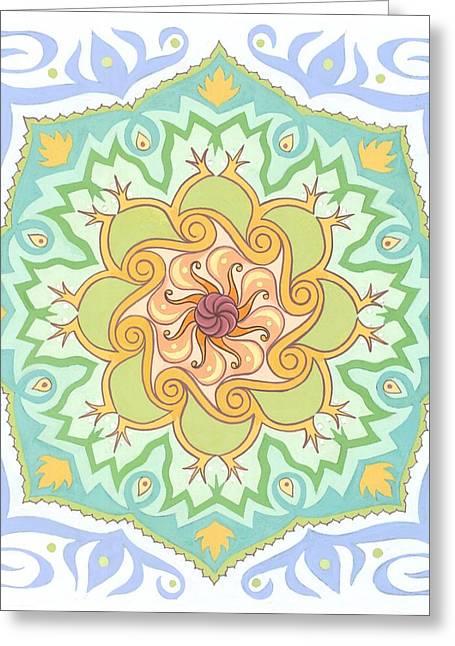 Illuminate Paintings Greeting Cards - Paradigm Shift mandala Greeting Card by Karen MacKenzie