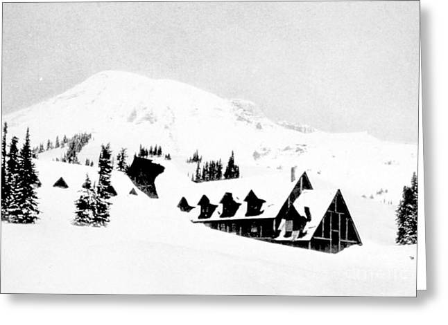 Snow Drifts Greeting Cards - Paradise Inn Buried In Snow, 1917 Greeting Card by Science Source