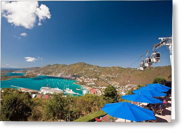 Aerial Tramway Greeting Cards - Paradise Point View Of Charlotte Amalie Saint Thomas US Virgin Islands Greeting Card by George Oze