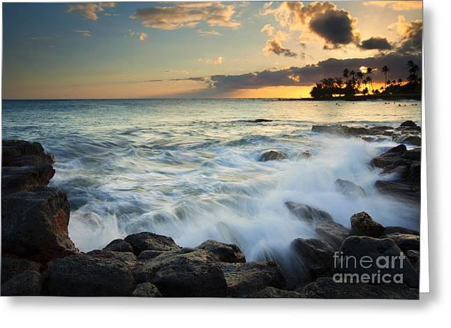 Kauai Greeting Cards - Paradise Waves Crashing Greeting Card by Mike  Dawson