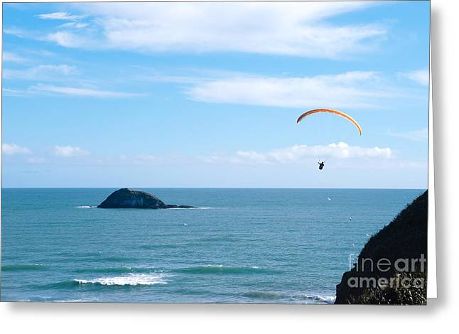 Paraglider On The Ocean Beach Greeting Card by Yurix Sardinelly