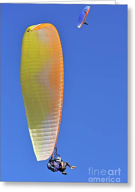 Getting Air Greeting Cards - Paragliders flying in tandem Greeting Card by Sami Sarkis