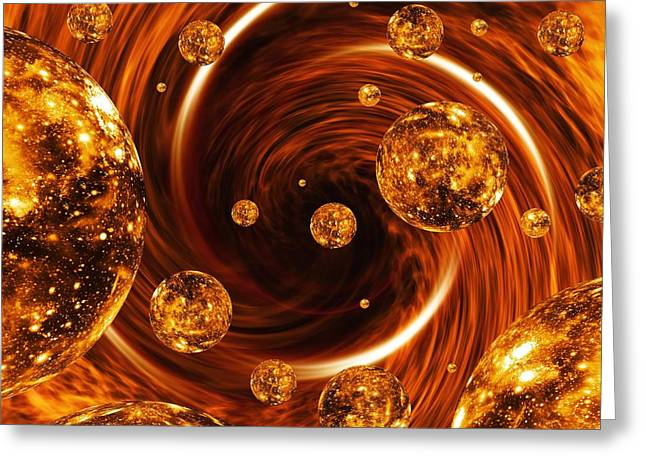 Curve Ball Greeting Cards - Parallel Universes, Artwork Greeting Card by Mehau Kulyk