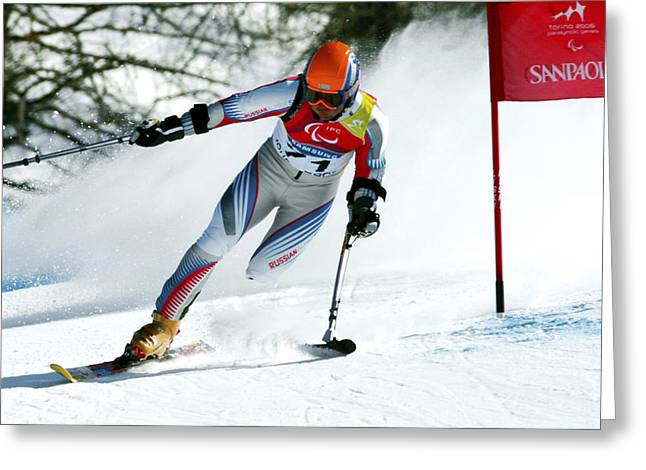 Slalom Skiing Greeting Cards - Paralympics Skiier Greeting Card by Ria Novosti