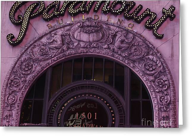 Overhang Greeting Cards - Paramount Theater Times Square II Greeting Card by Lee Dos Santos
