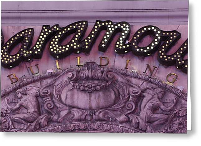 Overhang Greeting Cards - Paramount Theater Times Square Greeting Card by Lee Dos Santos