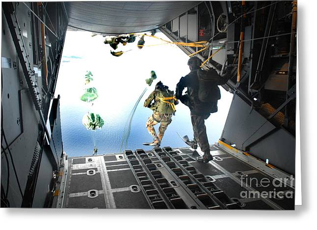 Swimsuit Photography Greeting Cards - Pararescuemen Perform A Static-line Greeting Card by Stocktrek Images