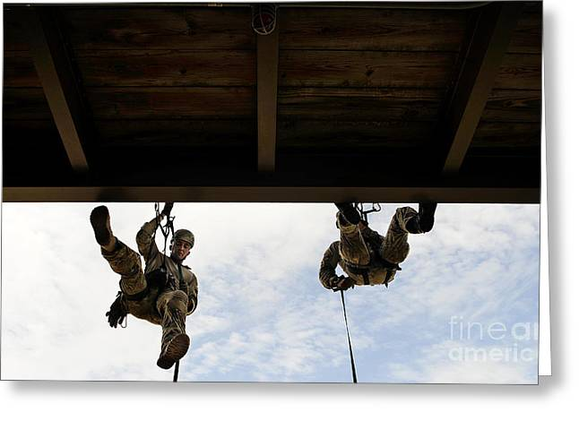 Rappel Greeting Cards - Pararescuemen Take Part In A Rappelling Greeting Card by Stocktrek Images