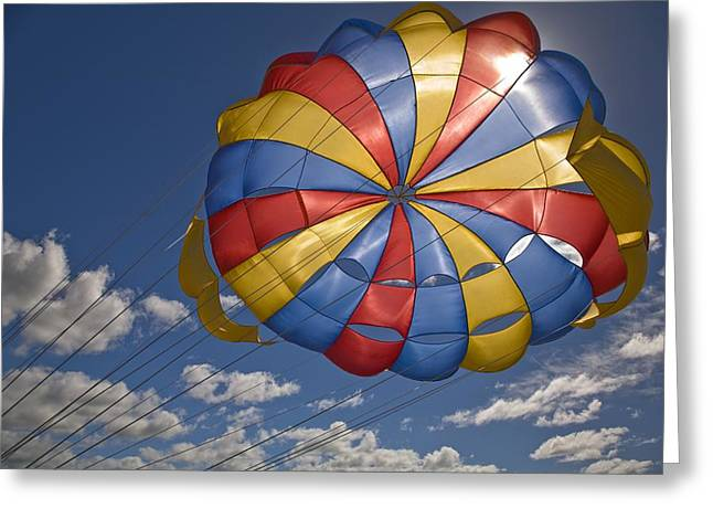 Parasail Greeting Cards - Parasail Backlit By Sun Mauritius Greeting Card by Stuart Westmorland