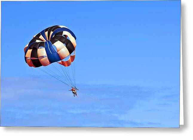 Parasail Greeting Cards - Parasailing under blue sky. Greeting Card by Fernando Barozza