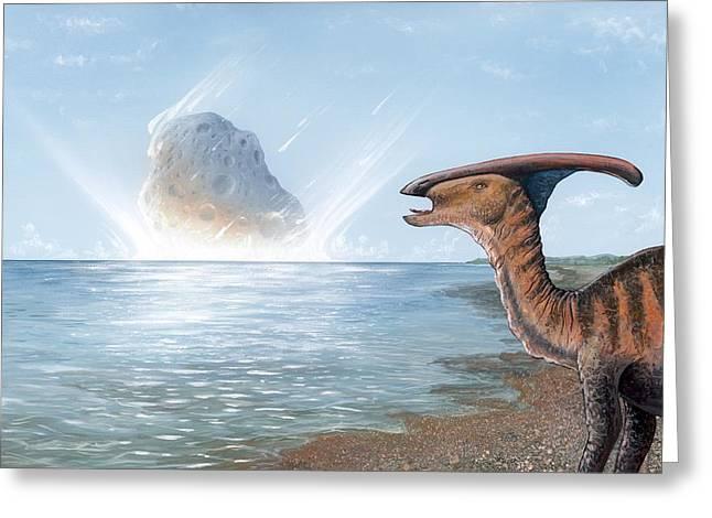 Parasaurolophus Dinosaur And Asteroid Greeting Card by Richard Bizley
