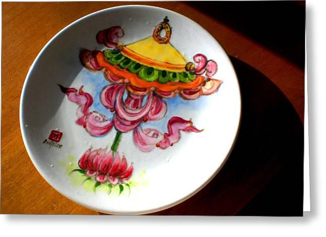 Symbol Ceramics Greeting Cards - Parasol Greeting Card by Angeler Tripajayakorn