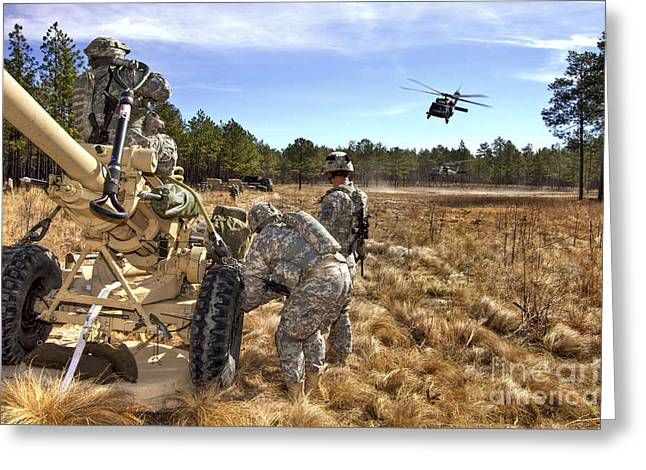 Artillery Gun Greeting Cards - Paratroopers Prepare To Hook Up An Greeting Card by Stocktrek Images