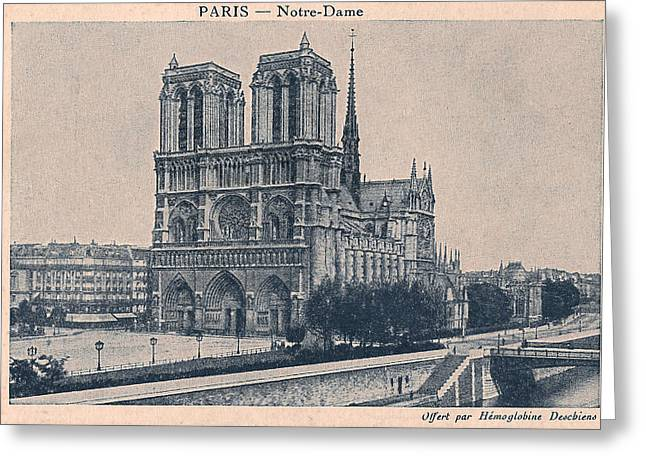 Historical Buildings Digital Art Greeting Cards - Paris - Notre Dame Greeting Card by Nomad Art And  Design