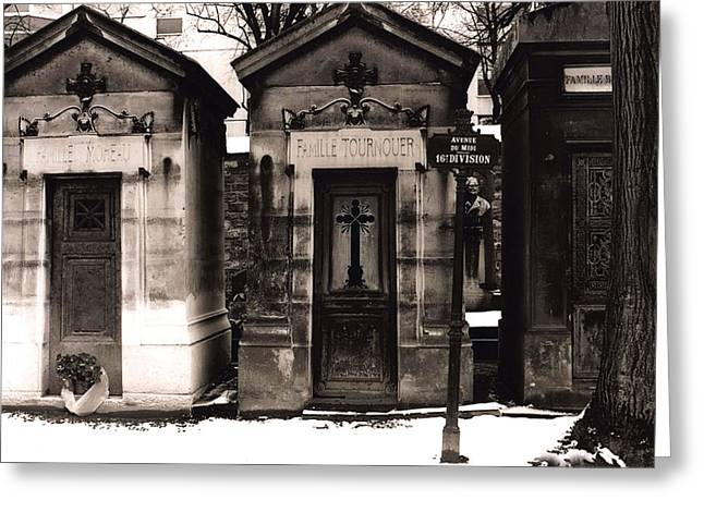 Paris - Pere La Chaise Cemetery Mausoleums Greeting Card by Kathy Fornal