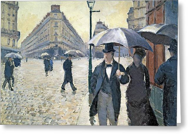 Street Scenes Paintings Greeting Cards - Paris a Rainy Day Greeting Card by Gustave Caillebotte