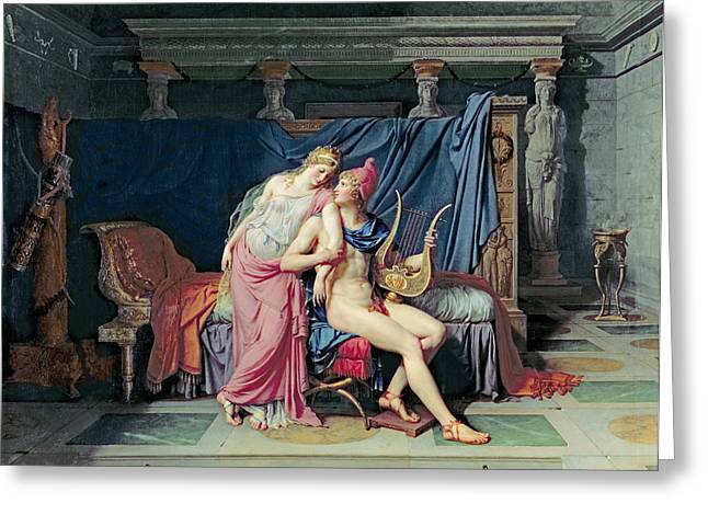 Amour Greeting Cards - Paris and Helen Greeting Card by Jacques Louis David