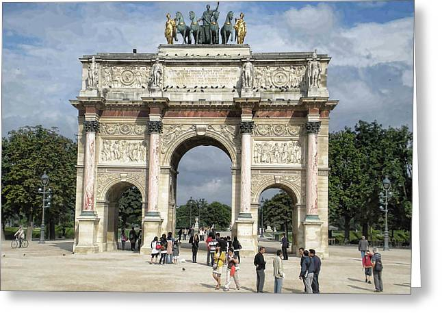 Arc De Triomphe Greeting Cards - Paris-Arch Greeting Card by Peter Chilelli