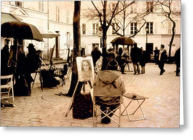 Starlit Greeting Cards - Paris Sepia Vintage Montmartre Artist District - Paris Montmartre Artists  Greeting Card by Kathy Fornal