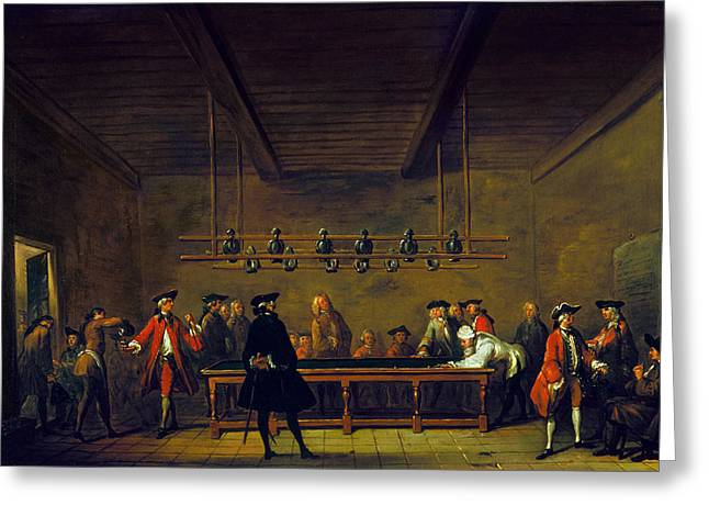 Chardin Greeting Cards - Paris: Billiards, 1725 Greeting Card by Granger