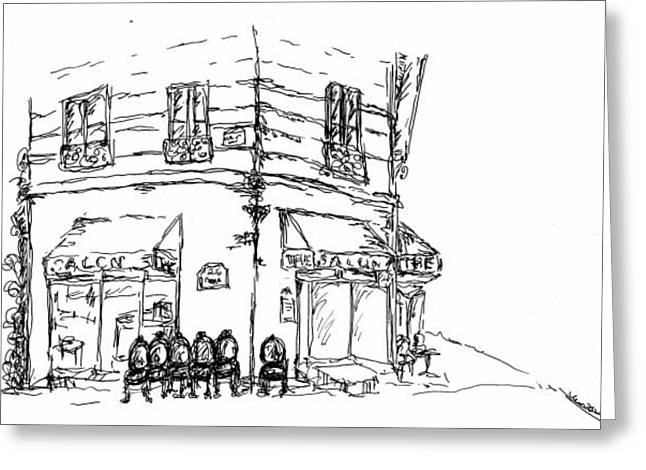 Pen And Paper Drawings Greeting Cards - Paris cafe Greeting Card by Pamela Canzano