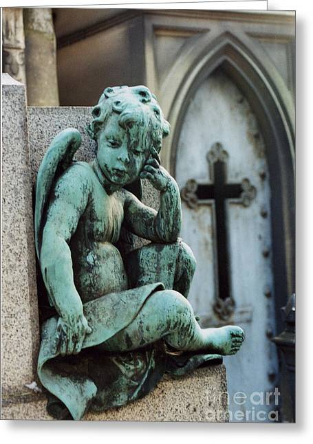 Paris Cemetery - Pere La Chaise - Cherub And Cross Greeting Card by Kathy Fornal