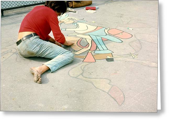 Color_image Greeting Cards - Paris Chalk Art 1964 Greeting Card by Glenn McCurdy